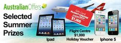 Win and iPad, iPhone5 or $1,000 Flight Centre voucher! Yes, please.