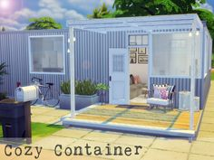 This little container house has every comfort you need.  Found in TSR Category 'Sims 4 Residential Lots'