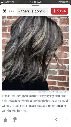 Brown Hair With Silver Highlights, Transition To Gray Hair, Cut Her Hair, Brunette Hair, Great Hair, Hair Dos, Balayage Hair, Hair Inspiration, Short Hair Styles