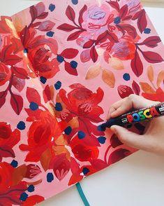 "Sketchbook de Josefina Jiménez (@jojimenez) • ""RED"" Pattern de rosas, pintado sobre papel con pintura acrilica y plumones Posca Posca, Pepperoni, Cards, Paper Envelopes, Maps, Playing Cards"