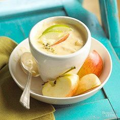 Chunks of apples and potatoes make a surprising and satisfying addition to this cheese soup recipe./