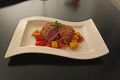 Thunfischfilet in Zimt - Sesam - Kruste auf Chili - Mango - Salat (Rezept mit Bild) | Chefkoch.de