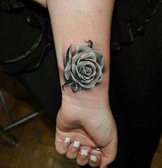 wrist grey tattoo bilek gri gül dövmesi
