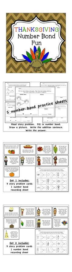 $2.00 Thanksgiving Number Bond Practice!  A great way to help your kids practice addition!