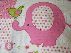 Pink Elephant Flannel Baby Quilt, Baby Blanket, Panel Quilt, Baby Shower Gift, Baby Girl Quilt by StitchingStraight on Etsy