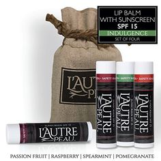 SPF 15 Luxury Lip Balm by LAUTRE PEAU  Passion Fruit Pomegranate Raspberry  Spearmint Flavors  Special 4 Pack Gift Set  Moisturizer with Sun Protection  The Indulgence Set * Read more reviews of the product by visiting the link on the image.