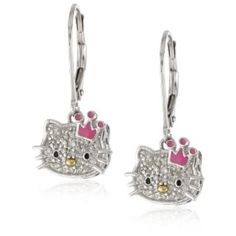 "Hello Kitty ""Sweet Statement Princess"" Sterling-Silver Earrings"