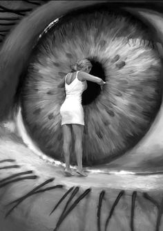'Eye'. photo manipulation by Michael Oswald I like how realistic it looks, but it is pretty scary. The girl is so small and the detail in the eye is great. #photoshop