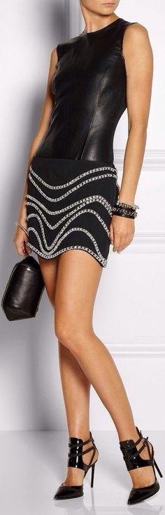 Black Sexy Embellished Crep Mini Skirt