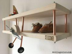 Airplane wall shelf - The Aviator Airplane Nursery, Wall Shelves, Shelf, Baby Boy Rooms, Kids Corner, Reading Nook, Kid Spaces, Game Room, Bookshelves
