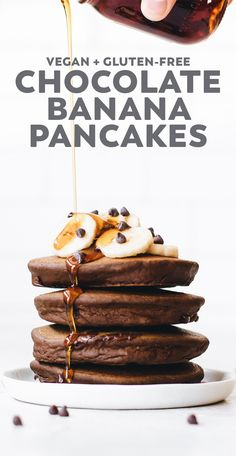 Fluffy Chocolate Banana Pancakes – made with quinoa flour, banana, cacao, and chocolate chips for a protein-filled vegan breakfast that tastes like dessert! #vegan #glutenfree #chocolate #breakfast #healthyrecipe #quinoa