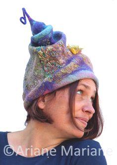 Sculptural hat for woman - nuno felt /// Ariane Mariane /// http://www.tafaforum.com/market/tafa-market-accessories/hats/