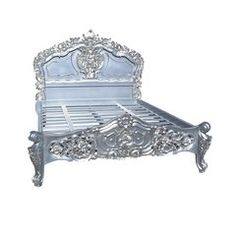 FRENCH Silver Carved Bed 4ft6 Double Size / 5ft King Size