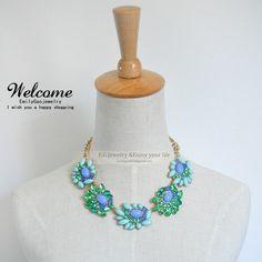 Short  Bib necklacesBlue flower statement by Emilygaojewelry, $15.90