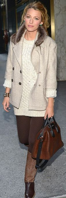 Sweater dress – Stella McCartney    Purse – Givenchy    Bracelet – Hermes    Earrings – Lorraine Schwartz