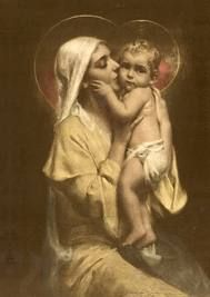 Mary and Jesus. I've never seen this particular picture.  How precious and awe inspiring to have the visual of the Mother of our Lord kissing on her son. WOW