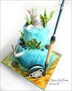 "Bonefish ""Fly fishing"" Cake - Cake by Sweet Madness Cake Designs Funny 50th Birthday Cakes, Fish Cake Birthday, Boy Birthday Parties, 60 Birthday, Fisherman Cake, Boat Cake, Retirement Cakes, Fly Fishing, Fishing Guide"
