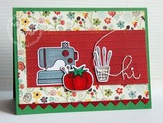 Hi card by Michele Boyer for Paper Smooches - Needle Little Love, Borders 3 dies Crafty Hobbies, Sewing Cards, Paper Smooches, Paper Crafts, Diy Crafts, Creative Cards, Paper Cutting, Cardmaking, Card Ideas