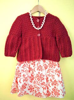 Crochet pattern for a little girl's sweater. So cute in a bright color for spring!