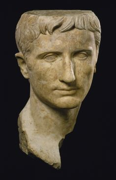 This is a portrait of Augustus, the founder of the Roman Empire in 27 BC. He ruled from 27 BC to his death in 14 AD, and was born with the name Gaius Octavius