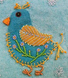 "Beadlust: Finished ""Chicks"" Quilt (Sue Spargo Wool Applique)"
