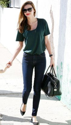 The secret behind her skinnies: Miranda Kerr, seen here in October 2013, is a big fan of Melbourne-based denim brand Nobody, and almost always wears their skinny jeans