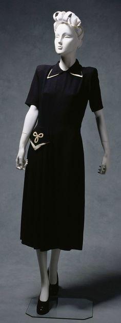 Dress, Lucy Secor (Melbourne, Australia): ca. 1940, wool crepe, trims.