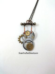 Gears and Machinery Steampunk Necklace by HomeCraftedSweetness, $60.00