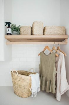 Kyal and Kara's Central Coast Australia home renovation - getinmyhome. Laundry inspiration - wicker basket and clothes hanging rail. Room Design, Interior, Diy Bedroom Decor, Laundry Room Design, Home Decor, Timber Shelves, Home Renovation, Room Storage Diy, Hanging Rail