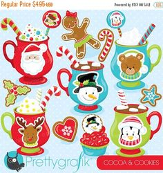80% OFF SALE Christmas cocoa clipart commercial use, vector graphics, digital clip art, digital images, christmas cookies  - CL754