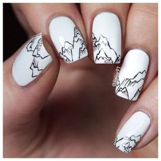 Alps!mount_fuji Base white polish by @essence_cosmetics and the alps are hand drawn with Pebeo acrylic paintsrelaxed Top coat by @essence_cosmetics Sealing Top Coatheart Have a lovely Sunday!!kissing_heart
