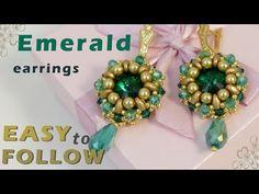 Handmade jewelry - Emerald earrings - Beading tutorial - YouTube