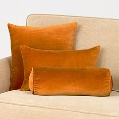 Love these throw pillows (Glazed Ginger Velvet Pillows) from WorldMarket.com. The velvet adds a little texture to a space. They have more color options also.