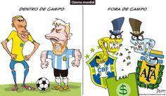 Charge do Dum (Zona do Agrião) sobre o clássico entre Brasil x Argentina (08/11/2016) #Charge #Dum #Futebol #Neymar #Messi #CBF #AFA #Clássico #Brasil #Argentina #Mineirão #HojeEmDia