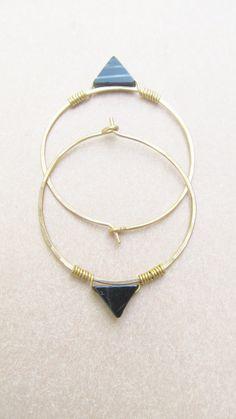 Geometric Hoop Earrings Brass Large Hoops by daniellerosebean