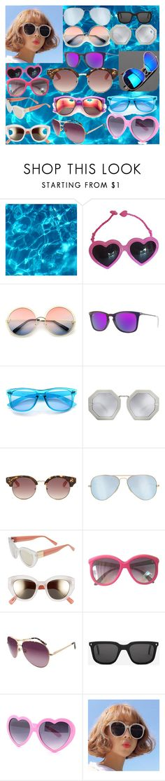"""Sunny Sunglasses"" by andieok on Polyvore featuring Jeremy Scott, ZeroUV, Ray-Ban, Karen Walker, GUESS, Cole Haan, Nine West, Monokel and Wildfox"