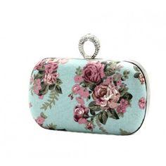 Elegant Rose Rhinestone Ring Clutch Evening Wedding Handbag Party Bag Purse Wallet Blue