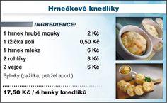 Levně a chutně s Ladislavem Hruškou - Hrnečkové knedlíky Czech Recipes, Dumplings, Food And Drink, Cooking Recipes, Baking, Diet, Bakken, Bread, Backen