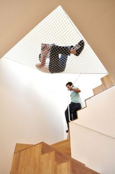 If you are having some free time and want to spend it lazing around, then a hammock bed would be an ideal choice. Usually a hammock bed can be seen outside the house, but the team OODA has redesigned Indoor Hammock Bed, Hammock Netting, Home Interior Design, Interior Architecture, Interior Ideas, Building Architecture, Mini Loft, Desk Layout, Diy Zimmer