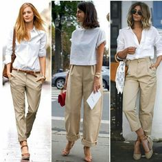 68 Best how to wear khaki pants images Casual Street Style, Casual Chic, Beige Pants Outfit, Mode Outfits, Casual Outfits, Beige Hose, Fashion Pants, Fashion Outfits, Fashion Quiz