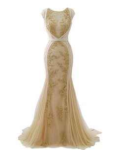 Clearbridal Womens Long Luxury Sheer Neck Formal Evening Gowns Gold Mermaid Prom Dresses Beaded Sequins Ball Gown - Jovani Dresses - Ideas of Jovani Dresses Gold Mermaid Prom Dresses, Beaded Prom Dress, Mermaid Wedding, Dress Prom, Gold Evening Gowns, Evening Dresses, Designer Evening Gowns, Afternoon Dresses, Flapper Dresses