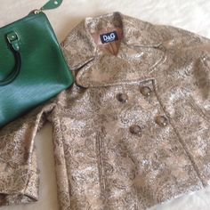 Jacket/pea coat, NWOT. D&G gold thread all over pea coat/jacket is never been worn. Gorgeous lining.  Super stylish for this upcoming fall/spring.  Must have!!!  Size EU40 which can fit US 2,4 and 6 because of its style.  91% cotton. D&G Jackets & Coats