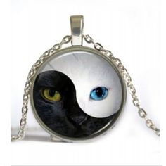 Yin Yang Cat Face Cabochon Necklace