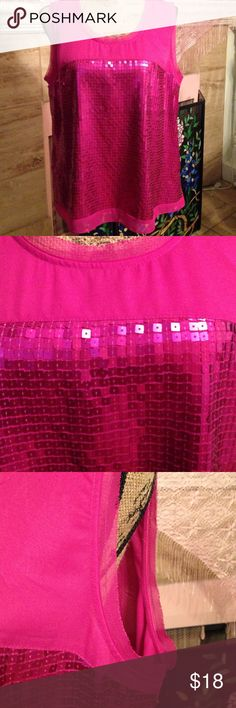 Blouse This is a perfect top to go out in the evening, or would be cute to wear casual as well! The color is a yummy magenta.  Soft fabric front and back with liner underneath section of sequins. Has some stretch. Sharagano Tops Blouses
