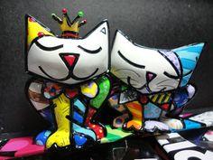 Romero Britto  /   Mini Casal Gatos