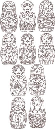 Redwork Russian Doll (Matreshka) Set art pattern. Would be fun for some rainy day adult coloring!