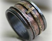 mens wide band wedding band - rustic fine silver and copper ring and brass cross ring oxidized ring - handmade wedding band - customized Rustic Wedding Bands, Wedding Men, Wedding Rings, Wedding Ideas, Wide Band Rings, Copper Rings, At Least, Rings For Men, Metal