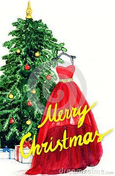 Elegant dress hanging on Christmas tree. watercolor illustration