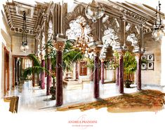 interior illustration and visualization, watercolor illustration, handmade rendering - orientalism - Andrea Prandini