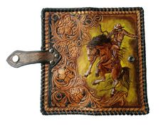 Cowboy Horse Rodeo Equestrian Flowers Lasso Biker image 0 Tandy Leather, Leather Art, Leather Tooling, Leather Wallet, Tooled Leather, Clutch Wallet, Cowboy Horse, Handmade Wallets, Leather Carving